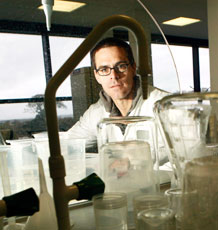 David Hosken in the lab