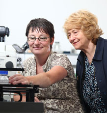 Professor Jenny Littlechild and postdoctoral researcher Dr Kirsty Line. Photo copyright Tim Pestridge